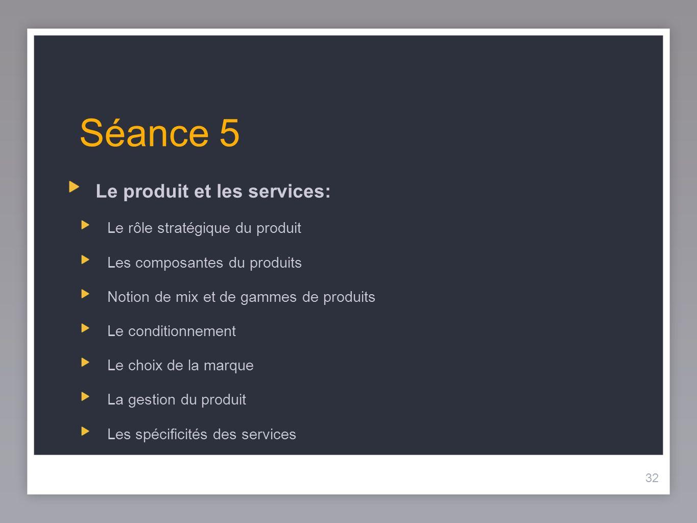 Séance 5 Le produit et les services: Le rôle stratégique du produit