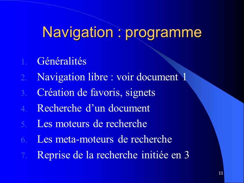 Navigation : programme