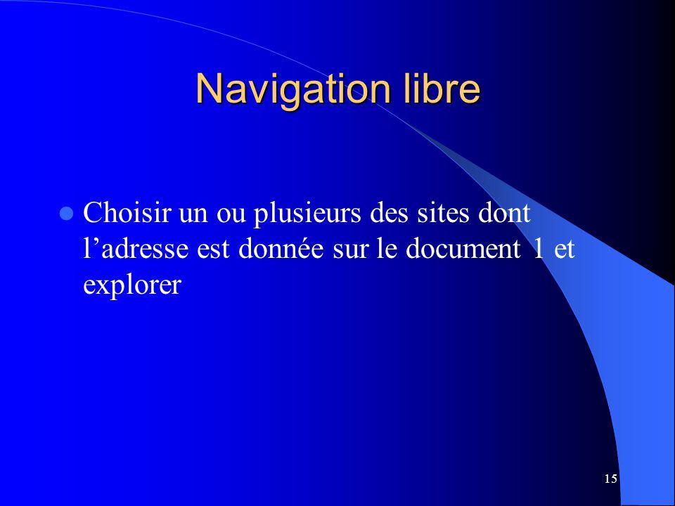Navigation libre Choisir un ou plusieurs des sites dont l'adresse est donnée sur le document 1 et explorer.