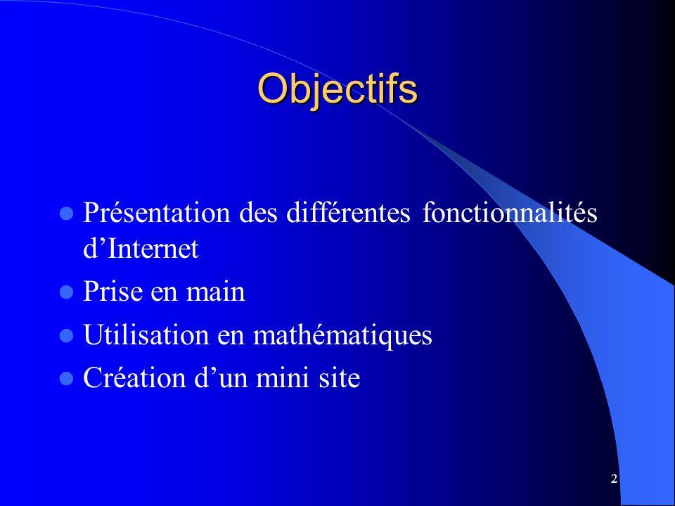 Objectifs Présentation des différentes fonctionnalités d'Internet