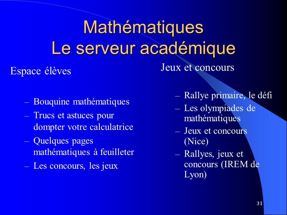 Mathématiques Le serveur académique