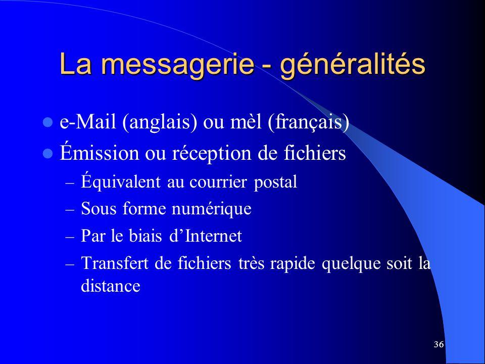 La messagerie - généralités