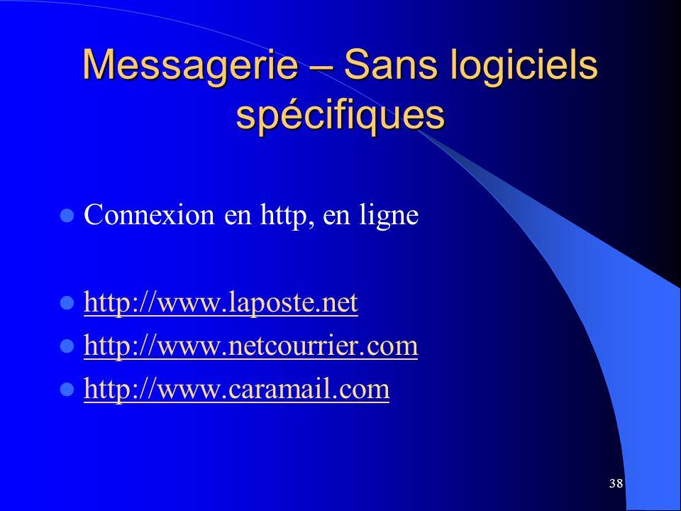 Messagerie – Sans logiciels spécifiques