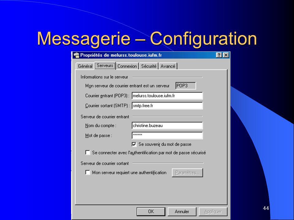 Messagerie – Configuration