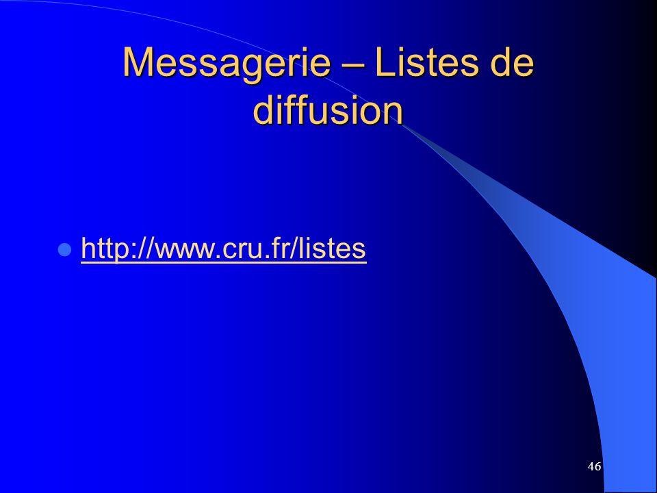 Messagerie – Listes de diffusion