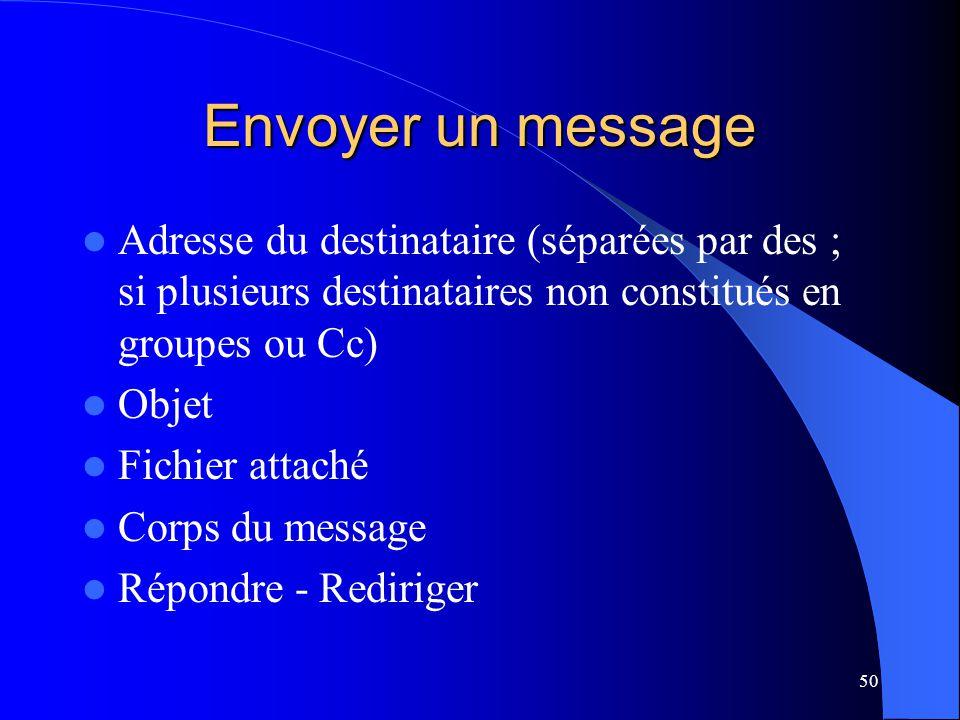 Envoyer un message Adresse du destinataire (séparées par des ; si plusieurs destinataires non constitués en groupes ou Cc)