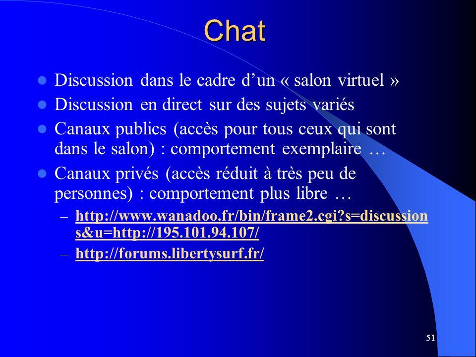 Chat Discussion dans le cadre d'un « salon virtuel »