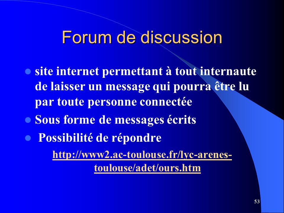Forum de discussion site internet permettant à tout internaute de laisser un message qui pourra être lu par toute personne connectée.