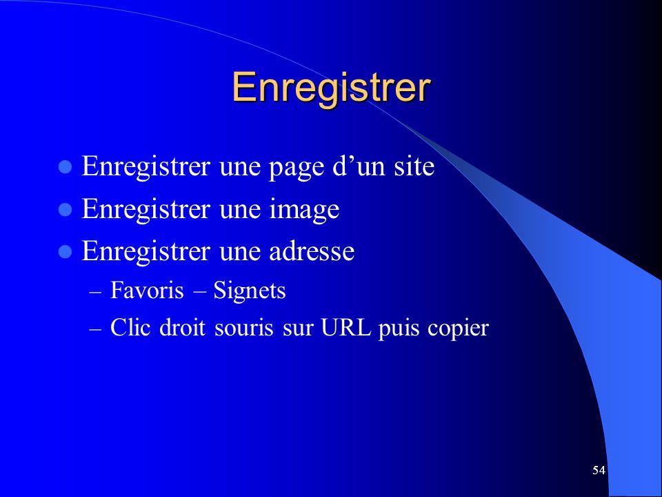 Enregistrer Enregistrer une page d'un site Enregistrer une image