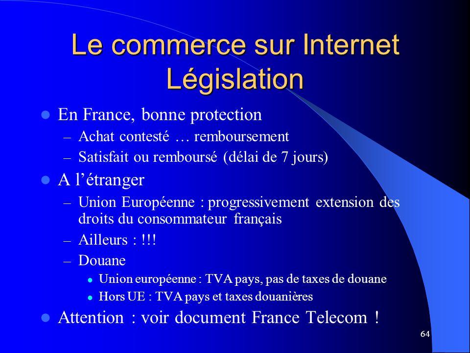 Le commerce sur Internet Législation