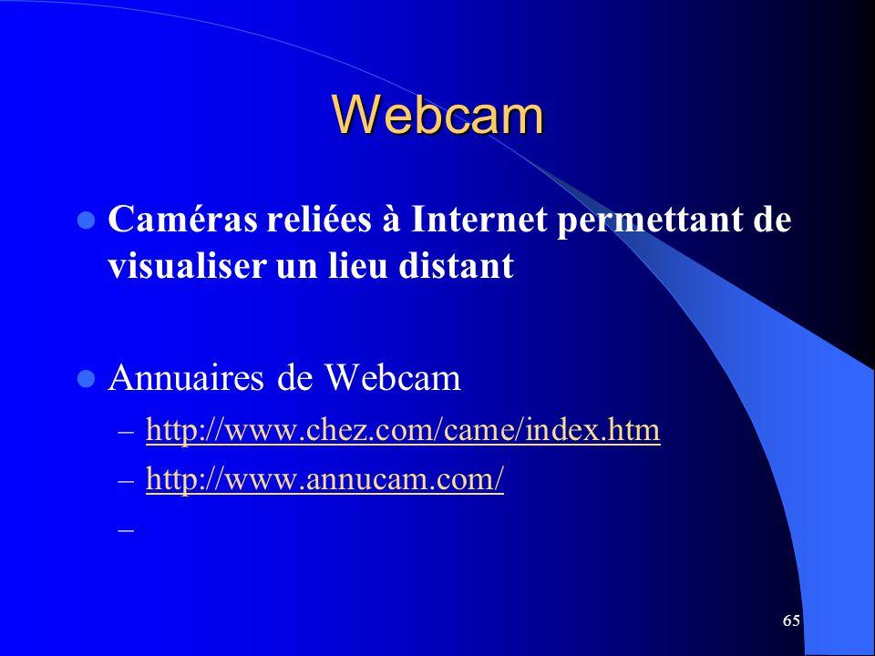 Webcam Caméras reliées à Internet permettant de visualiser un lieu distant. Annuaires de Webcam. http://www.chez.com/came/index.htm.