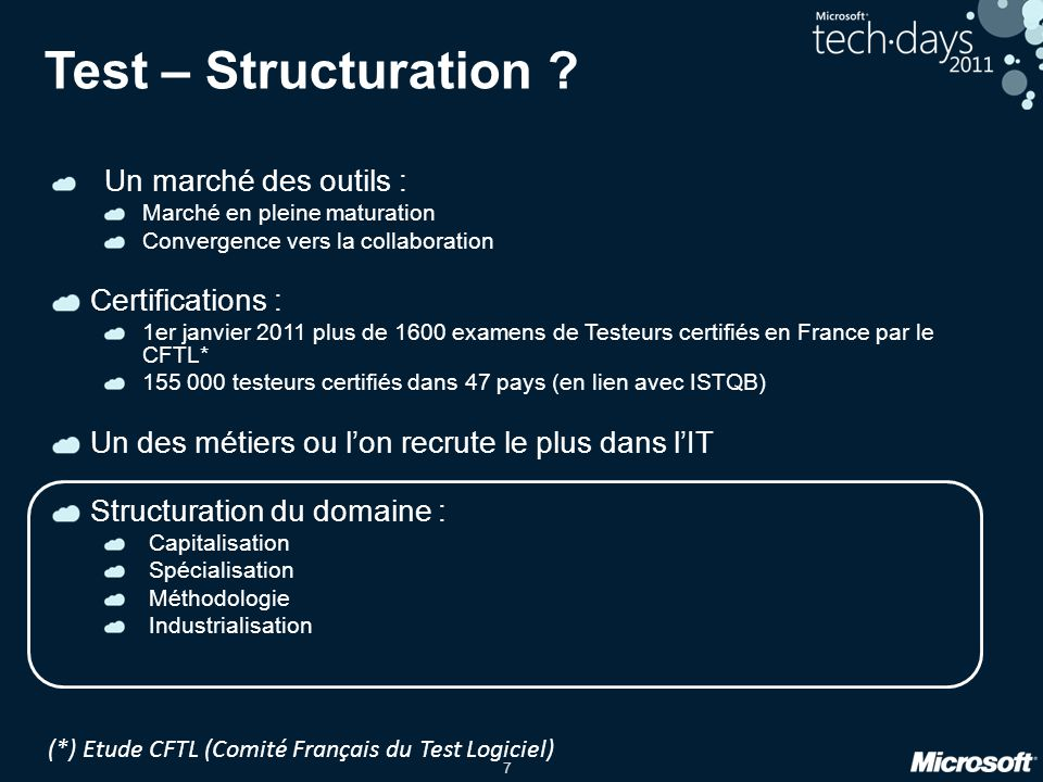 Test – Structuration Certifications :