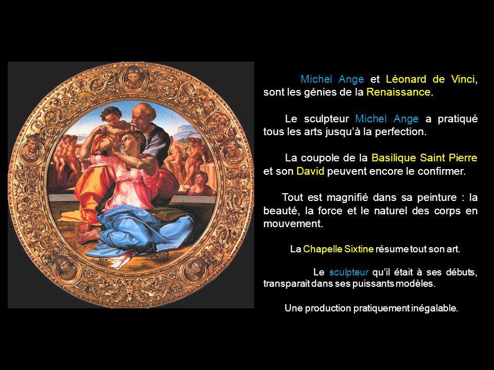 Michel Ange et Léonard de Vinci, sont les génies de la Renaissance.