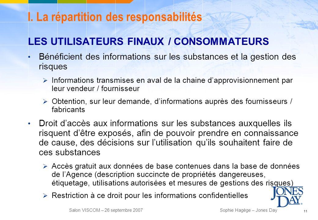 I. La répartition des responsabilités