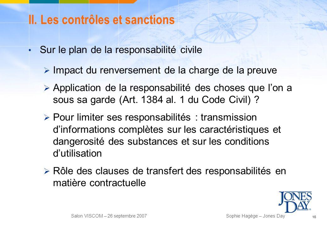 II. Les contrôles et sanctions