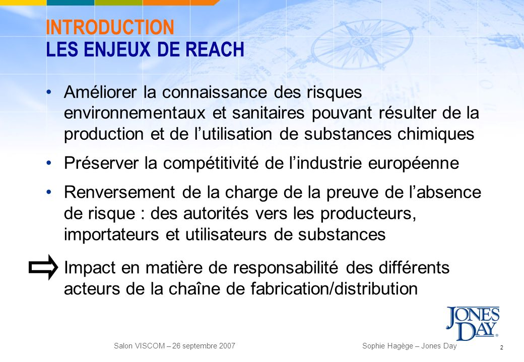 INTRODUCTION LES ENJEUX DE REACH