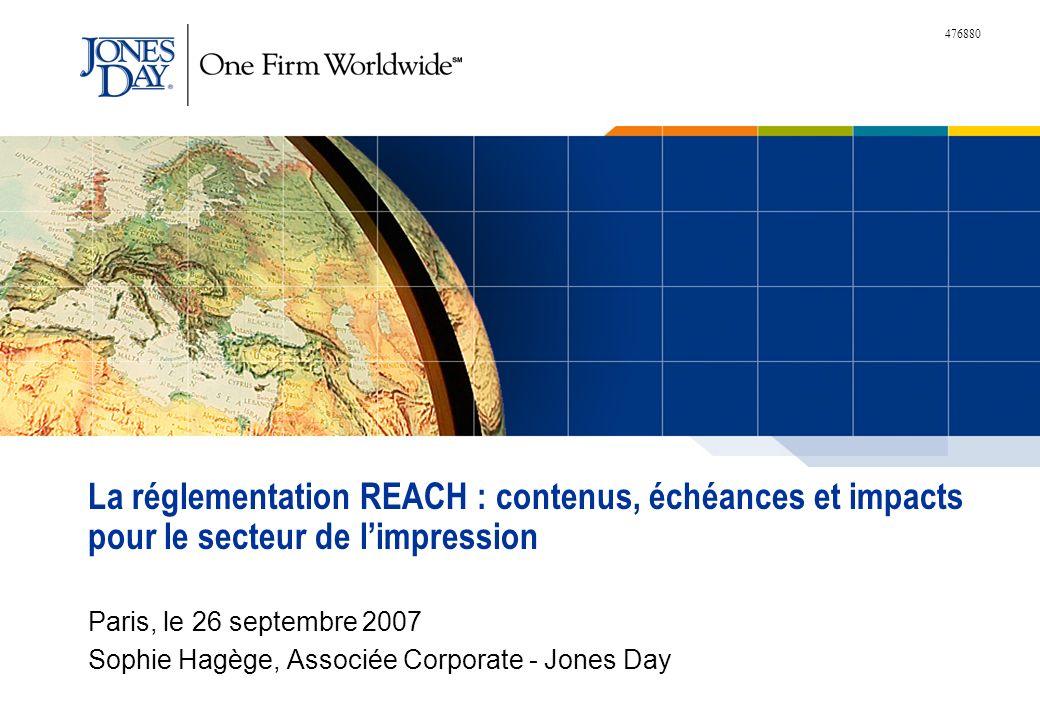 La réglementation REACH : contenus, échéances et impacts pour le secteur de l'impression
