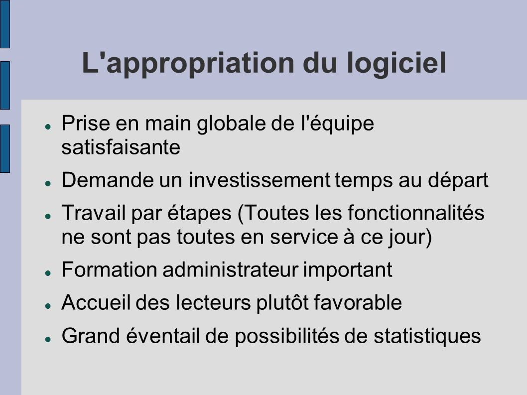 L appropriation du logiciel
