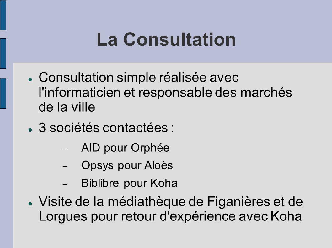 La Consultation Consultation simple réalisée avec l informaticien et responsable des marchés de la ville.