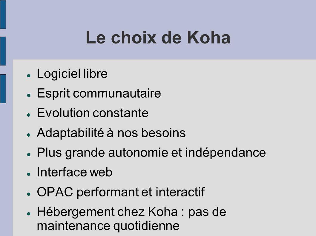 Le choix de Koha Logiciel libre Esprit communautaire