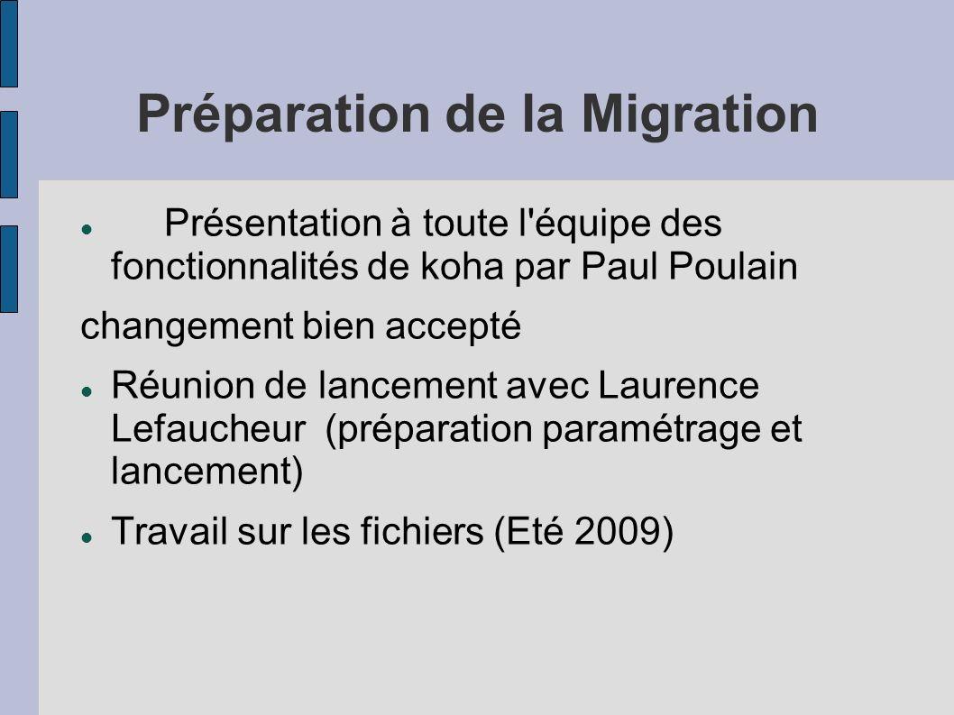 Préparation de la Migration