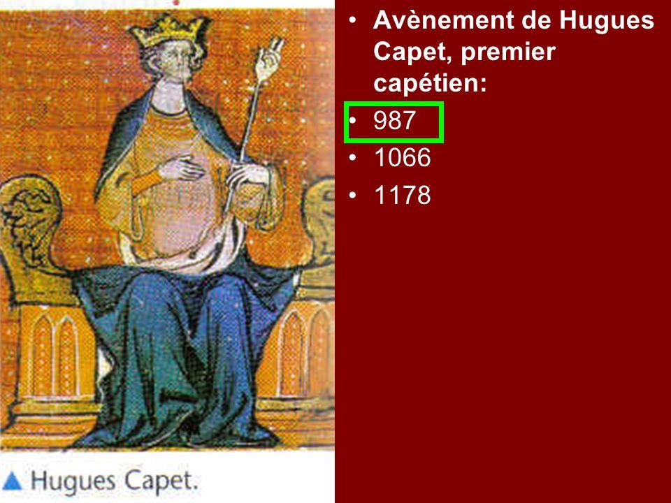 Avènement de Hugues Capet, premier capétien: