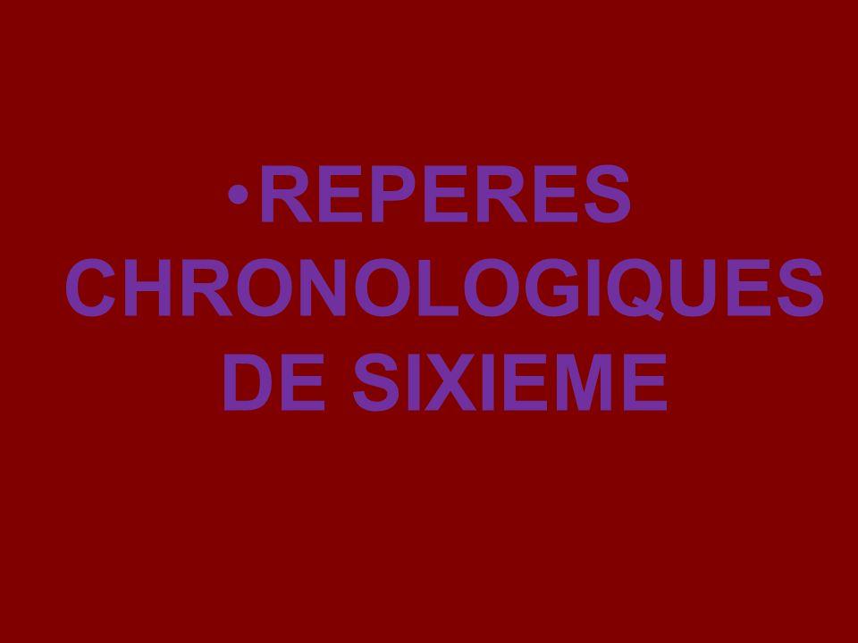 REPERES CHRONOLOGIQUES DE SIXIEME