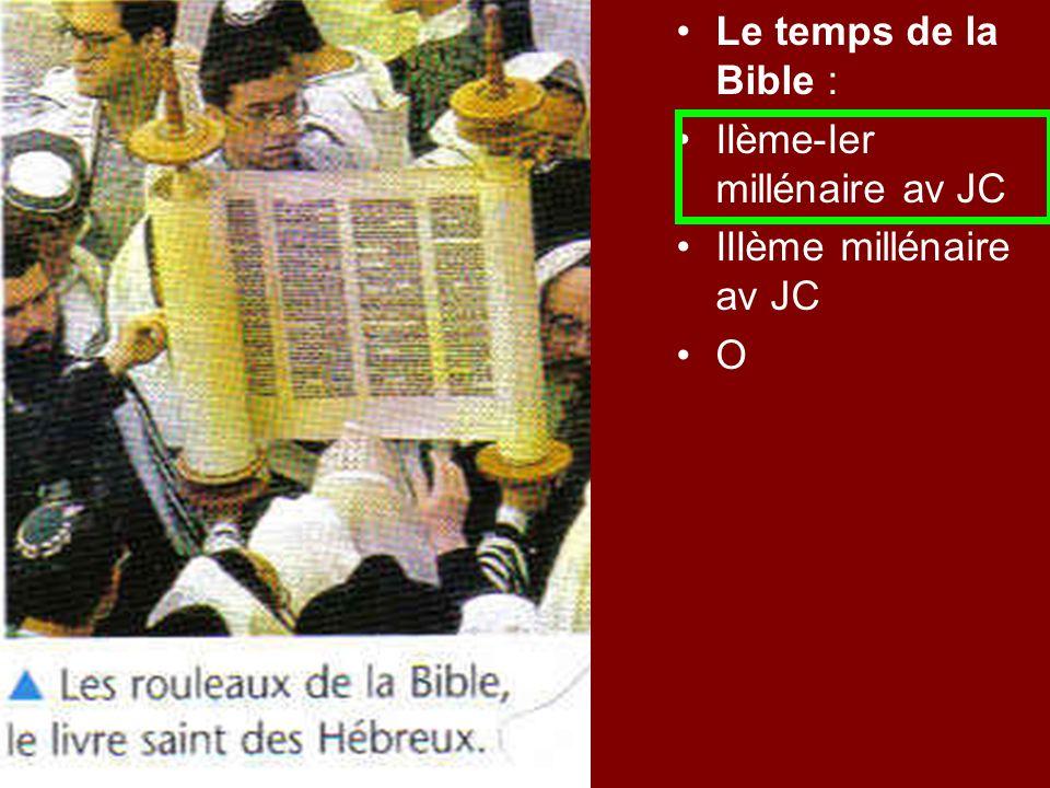 Le temps de la Bible : IIème-Ier millénaire av JC IIIème millénaire av JC O