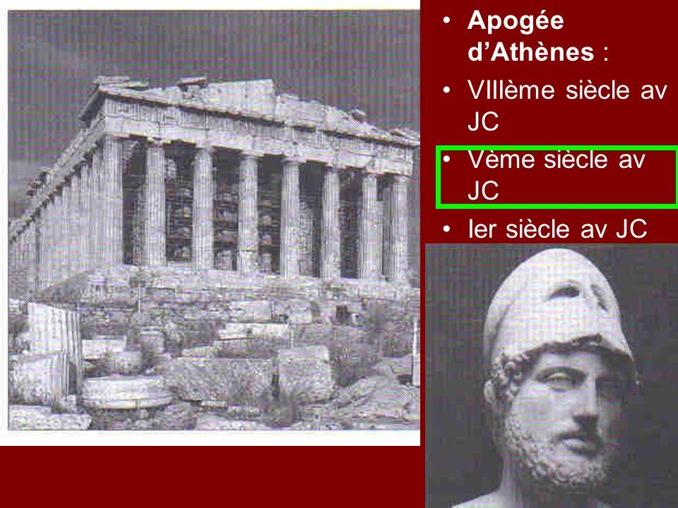 Apogée d'Athènes : VIIIème siècle av JC Vème siècle av JC Ier siècle av JC