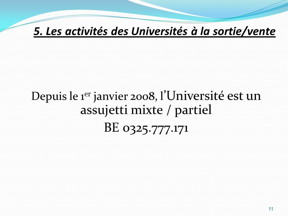 BE 0325.777.171 5. Les activités des Universités à la sortie/vente
