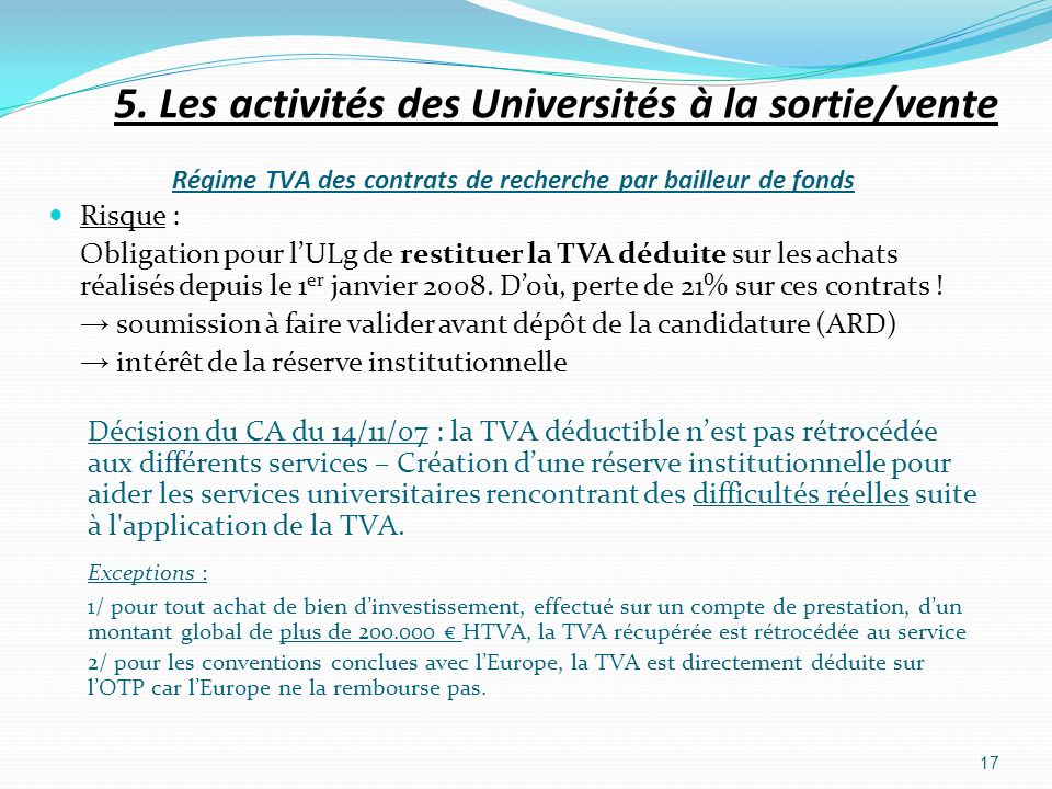5. Les activités des Universités à la sortie/vente