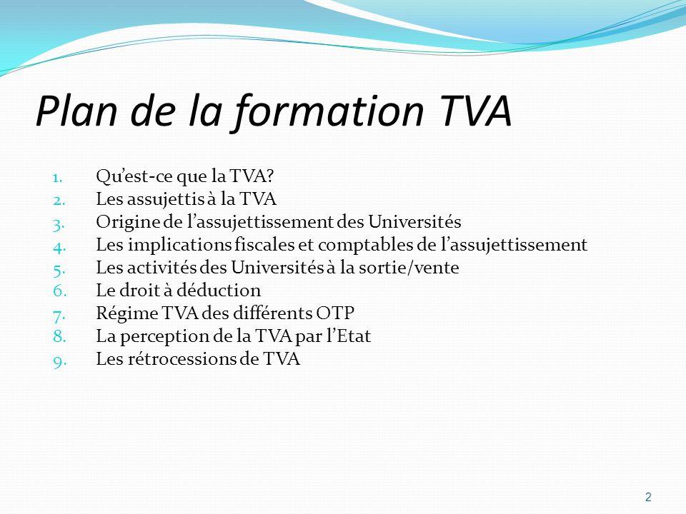 Plan de la formation TVA