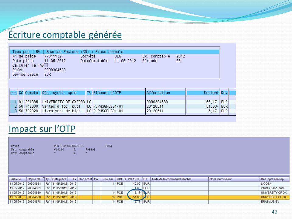 Écriture comptable générée