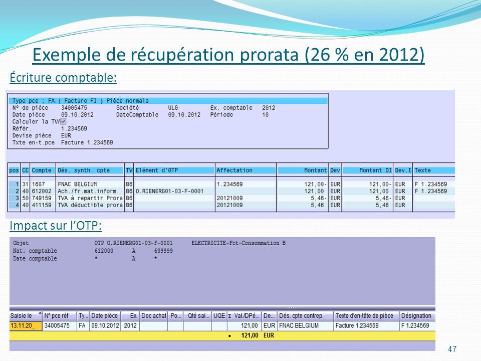 Exemple de récupération prorata (26 % en 2012)