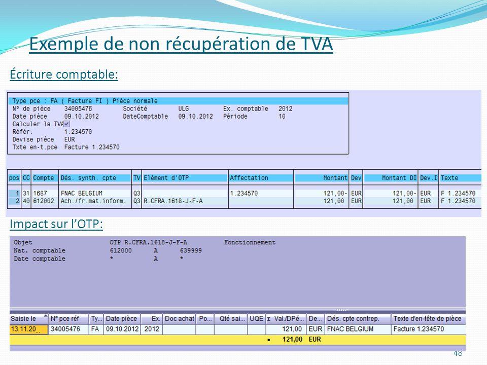 Exemple de non récupération de TVA