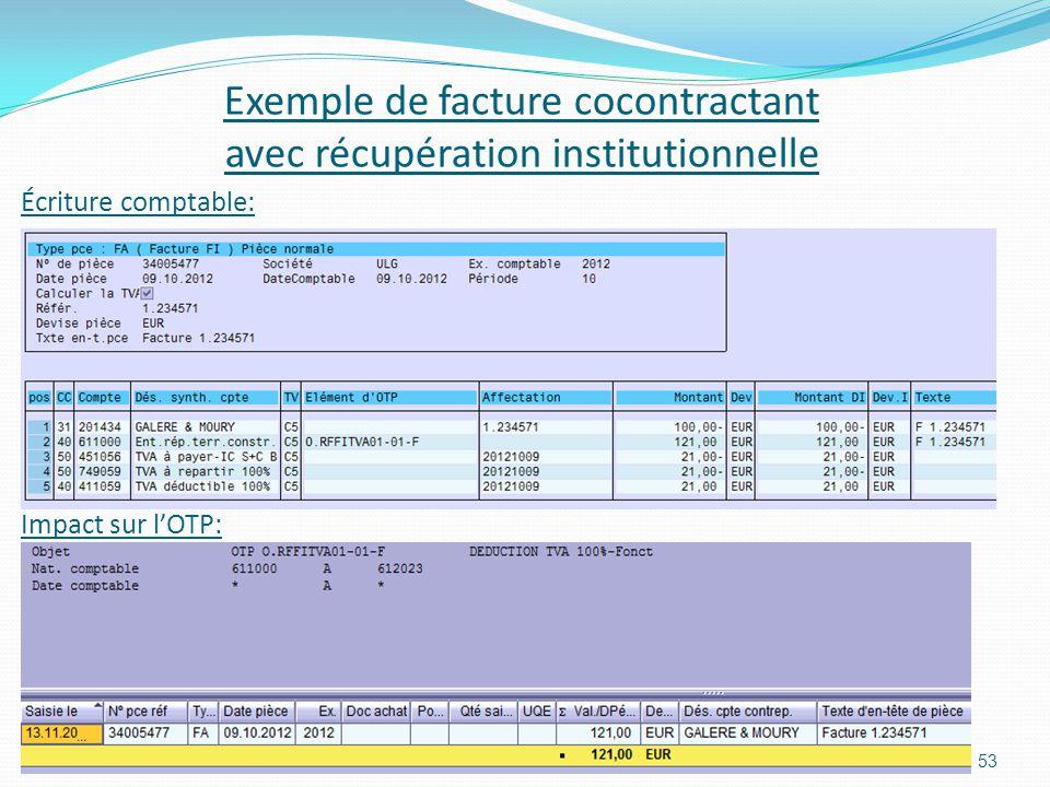 Exemple de facture cocontractant avec récupération institutionnelle