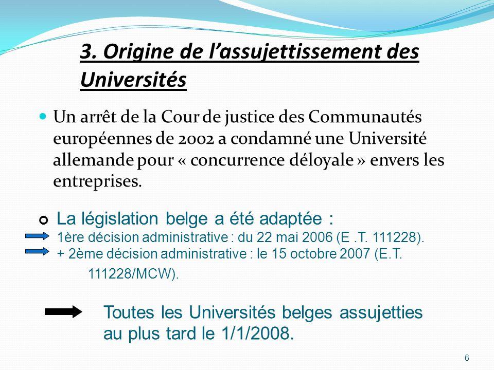 3. Origine de l'assujettissement des Universités