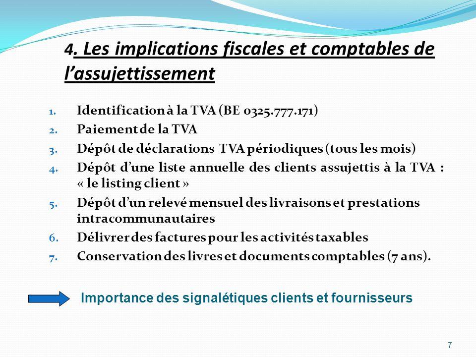 4. Les implications fiscales et comptables de l'assujettissement