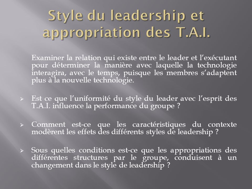 Style du leadership et appropriation des T.A.I.