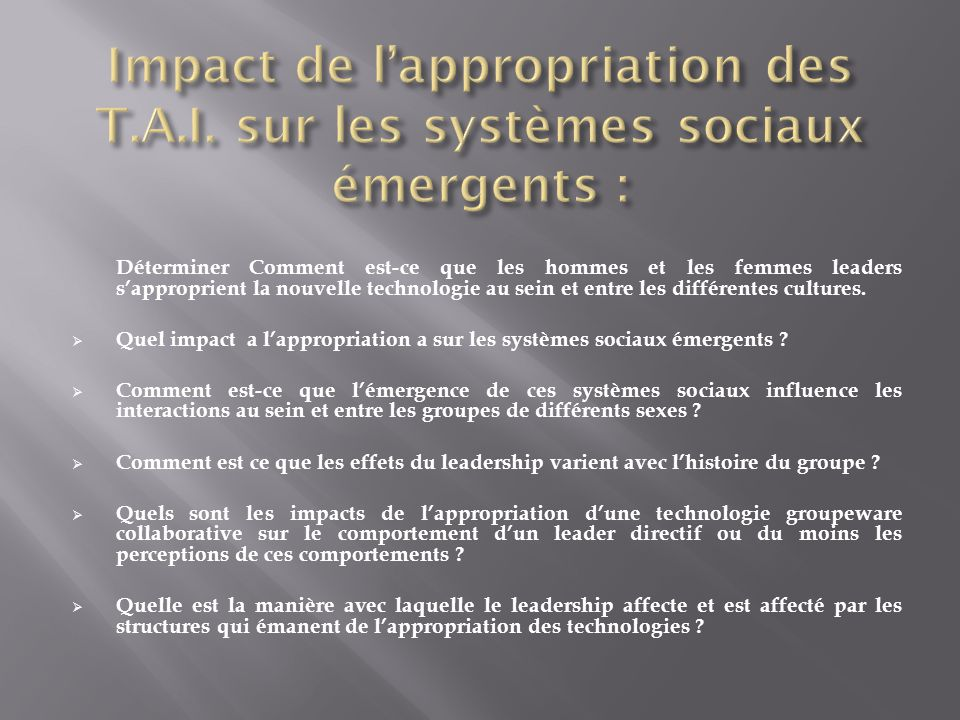 Impact de l'appropriation des T. A. I