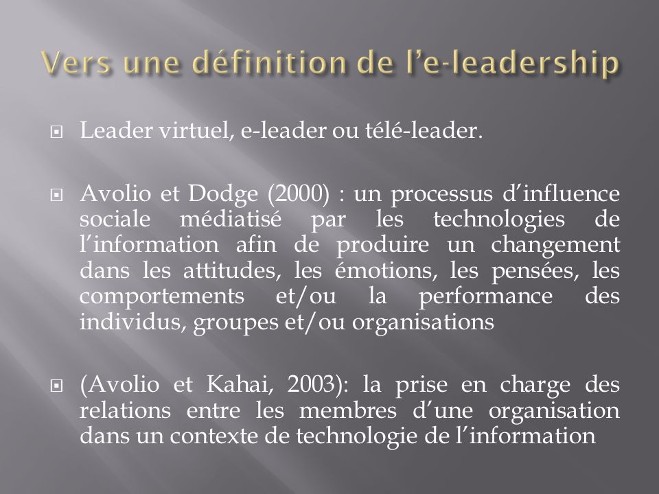 Vers une définition de l'e-leadership