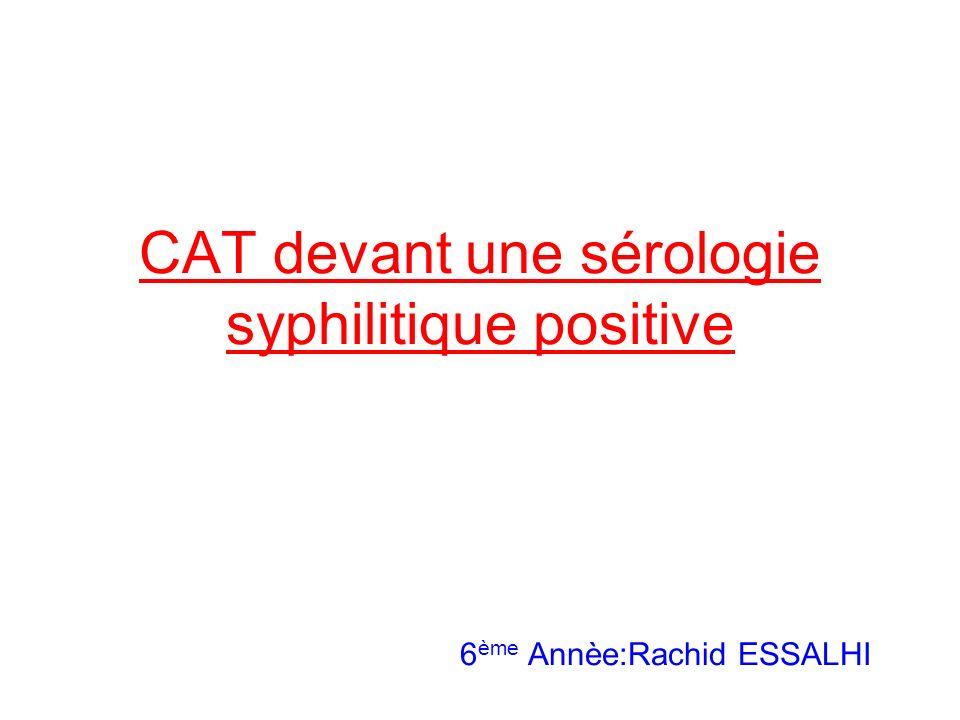 CAT devant une sérologie syphilitique positive 6ème Annèe:Rachid ESSALHI