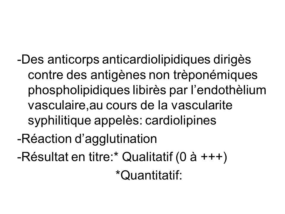 -Des anticorps anticardiolipidiques dirigès contre des antigènes non trèponémiques phospholipidiques libirès par l'endothèlium vasculaire,au cours de la vascularite syphilitique appelès: cardiolipines