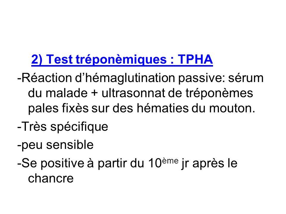 2) Test tréponèmiques : TPHA