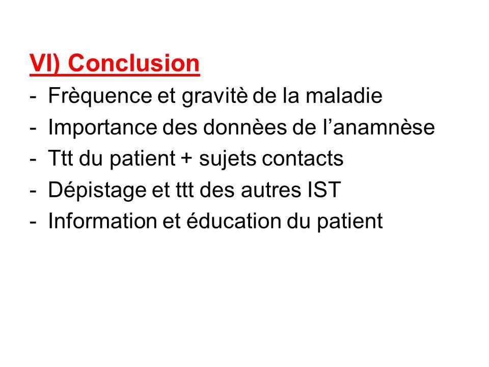VI) Conclusion Frèquence et gravitè de la maladie