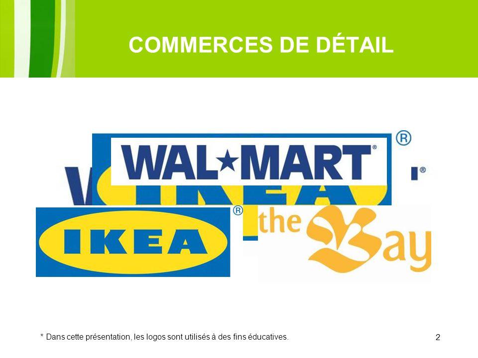 COMMERCES DE DÉTAIL * Dans cette présentation, les logos sont utilisés à des fins éducatives. 2