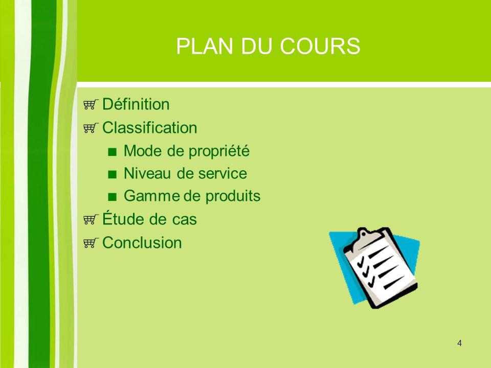 PLAN DU COURS Définition Classification Étude de cas Conclusion