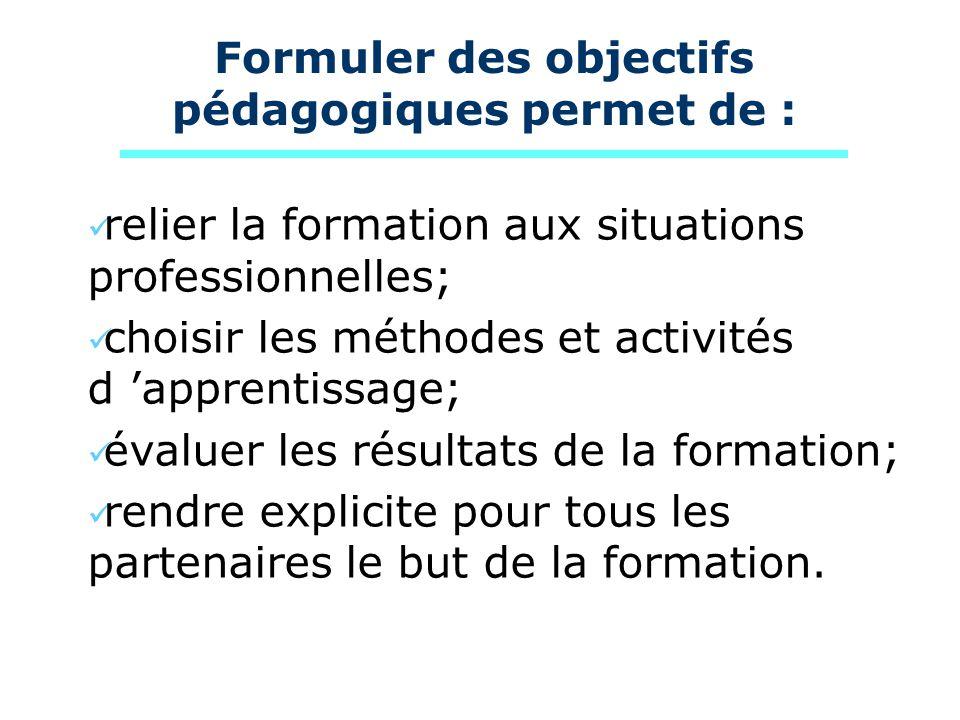 Formuler des objectifs pédagogiques permet de :