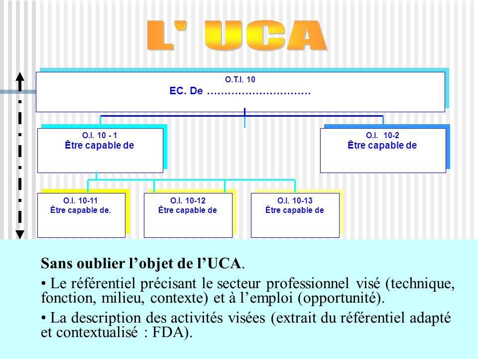 L UCA Sans oublier l'objet de l'UCA.