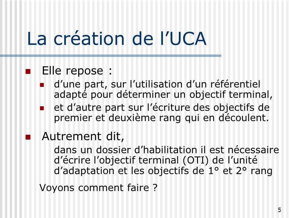 La création de l'UCA Elle repose : Autrement dit,